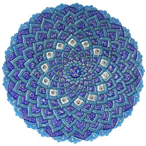 بشقاب  میناکاری دست ساز گالري آسماني طرح مسجدشیخ لطف الله مدل D60-1 قطر 60 سانتیمتر