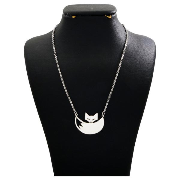 گردنبند نقره زنانه دلی جم طرح روباه کد D 106