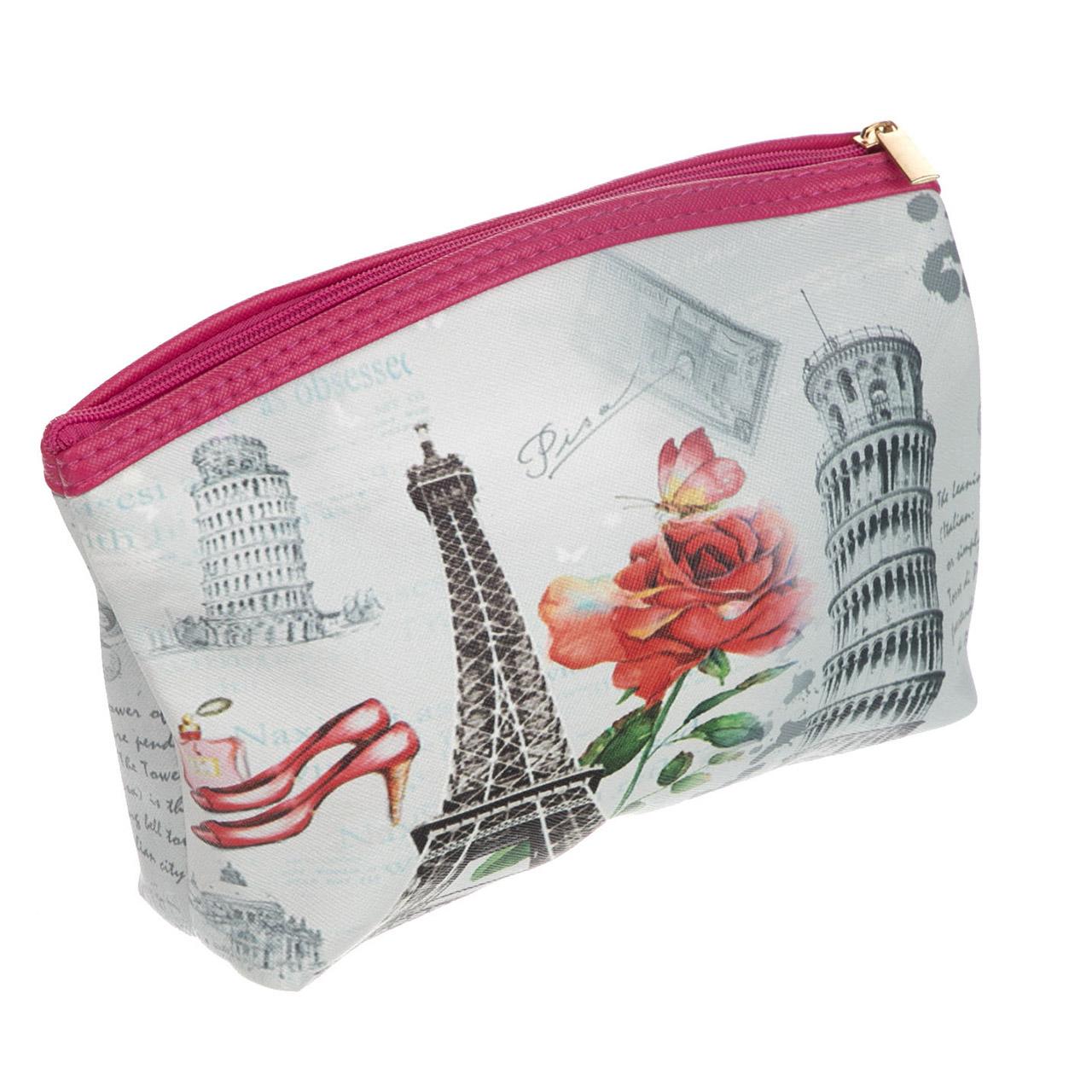 کیف لوازم آرایش طرح پاریس و پیزا |