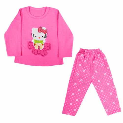 ست تیشرت و شلوار دخترانه طرح کیتی مدل pink_01
