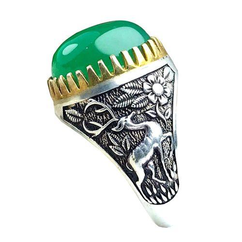 انگشتر نقره مردانه عقیق سبز طرح ضامن آهو کد 598