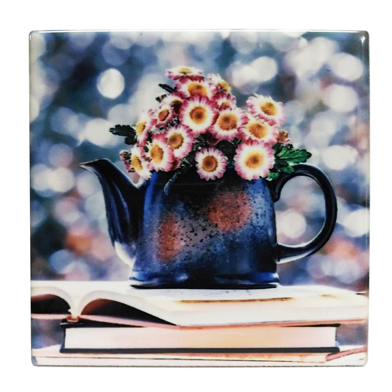 کاشی خشتی طرح گلدان و کتاب کد EK17