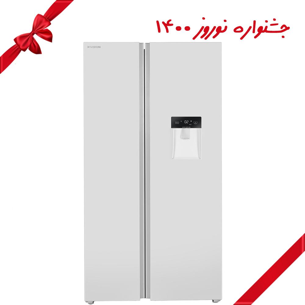 یخچال و فریزر ساید بای ساید ایکس ویژن مدل TS665-AWD/ASD