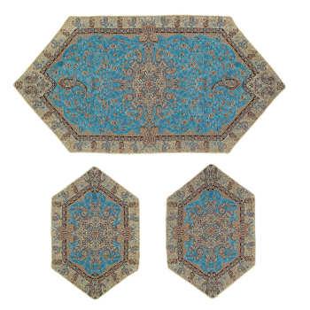 ست رومیزی ترمه سپهر یاس مدل بته جقه آبی طلایی کد 1 مجموعه سه عددی