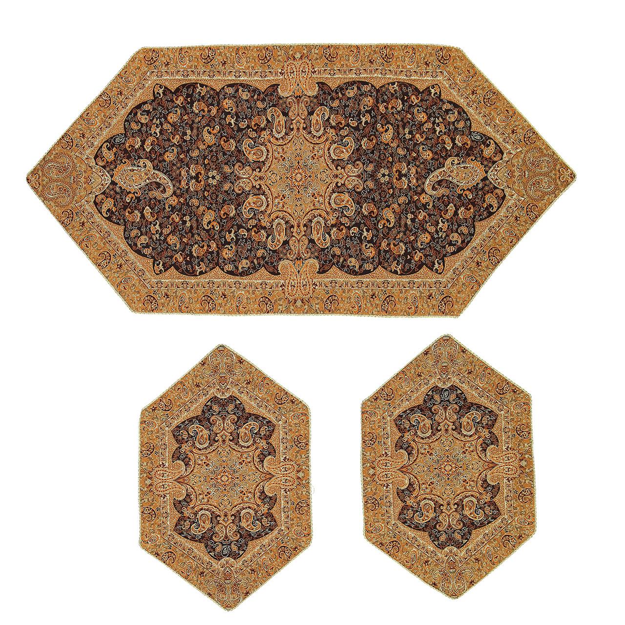 عکس ست رومیزی سپهر یاس ترمه  مدل بته جقه قهوه ای عسلی کد 11 مجموعه سه عددی