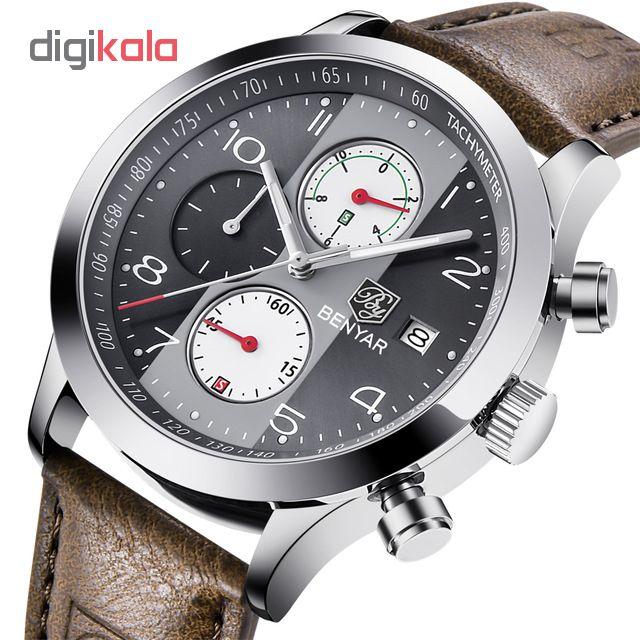 خرید ساعت مچی عقربه ای مردانه بنیار مدل 5133LGR