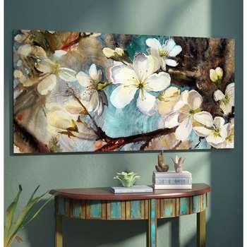 تابلو شاسی طرح شکوفه فیروزه ای کد AX14074