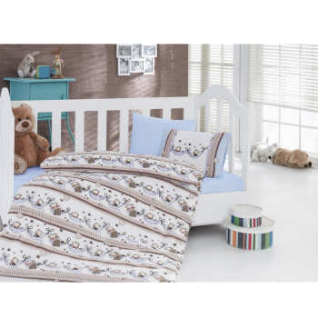 سرویس خواب 4 تکه کودک کاتن باکس  مدل   Blue Swing | Cotton Box Blue Swing Child Bedsheet Set 1 Person 4 Pcs