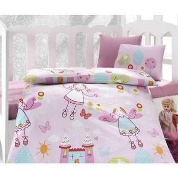 سرویس خواب 4 تکه کودک کاتن باکس  مدل  Tales Pink | Cotton Box Tales Pink Child Bedsheet Set 1 Person 4 Pcs