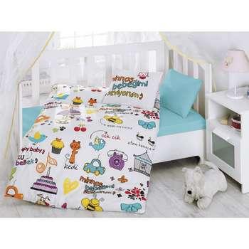 سرویس خواب 4 تکه کودک کاتن باکس  مدل   Happy Baby White | Cotton Box Happy Baby White Bedsheet Set 1 Person 4 Pcs
