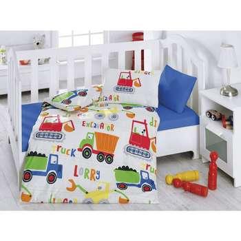 سرویس ملحفه کودک کاتن باکس طرح Blue Construction Site یک نفره 4 تکه | Cotton Box Blue Construction Site Bedsheet Set 1 Person 4 Pcs