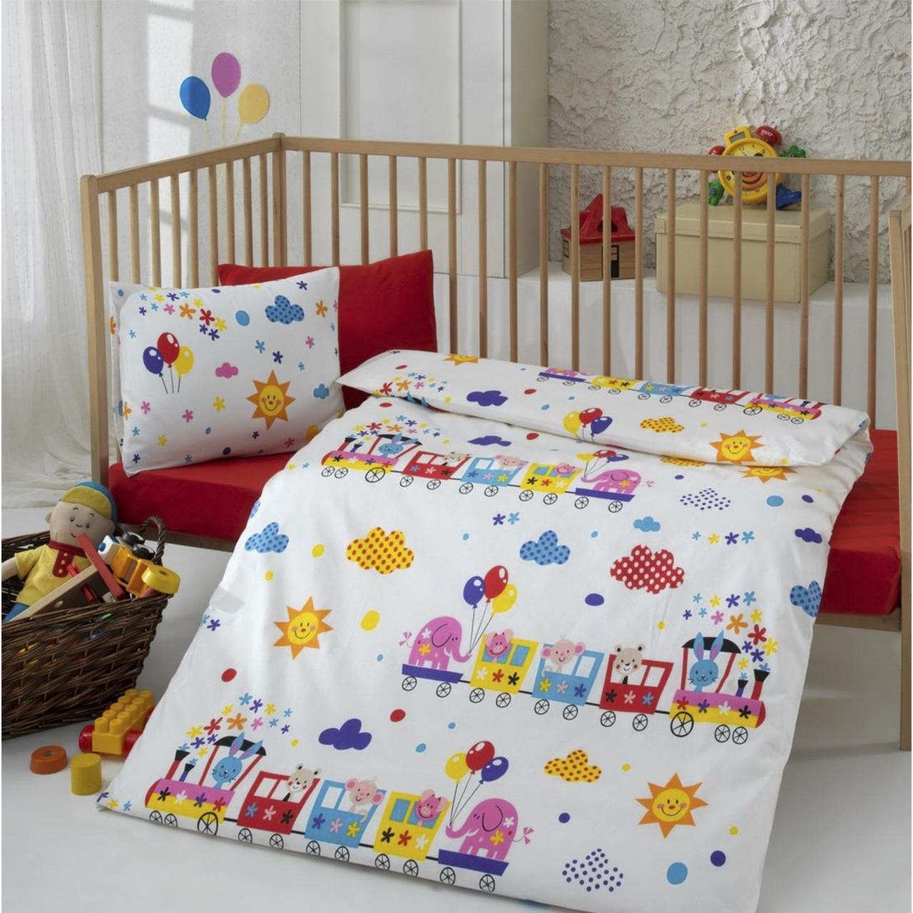 سرویس ملحفه 4 تکه کودک کاتن باکس  مدل  Yellow choo-choo | Cotton Box Yellow choo-choo child Bedsheet Set 1 Person 4 Pcs