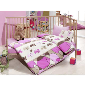 سرویس خواب 4 تکه کودک کاتن باکس  مدل  Pink Kitty | Cotton Box Pink Kitty Child Bedsheet Set 1 Person 4 Pcs