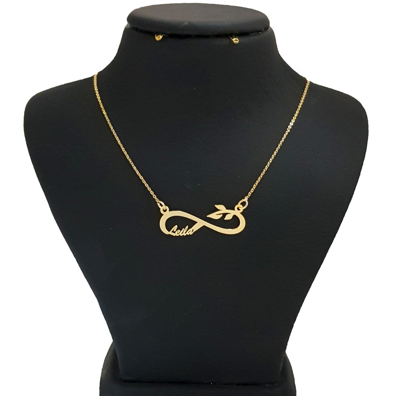 عکس گردنبند نقره طرح اسم لیلا کد Q1