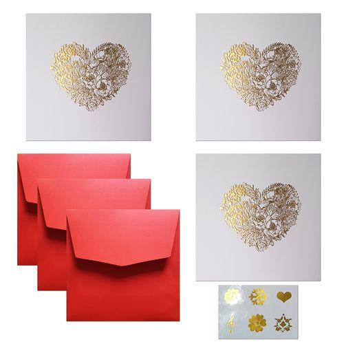 کارت پستال ستوده طرح قلب طلایی کد cg003 بسته 3 عددی