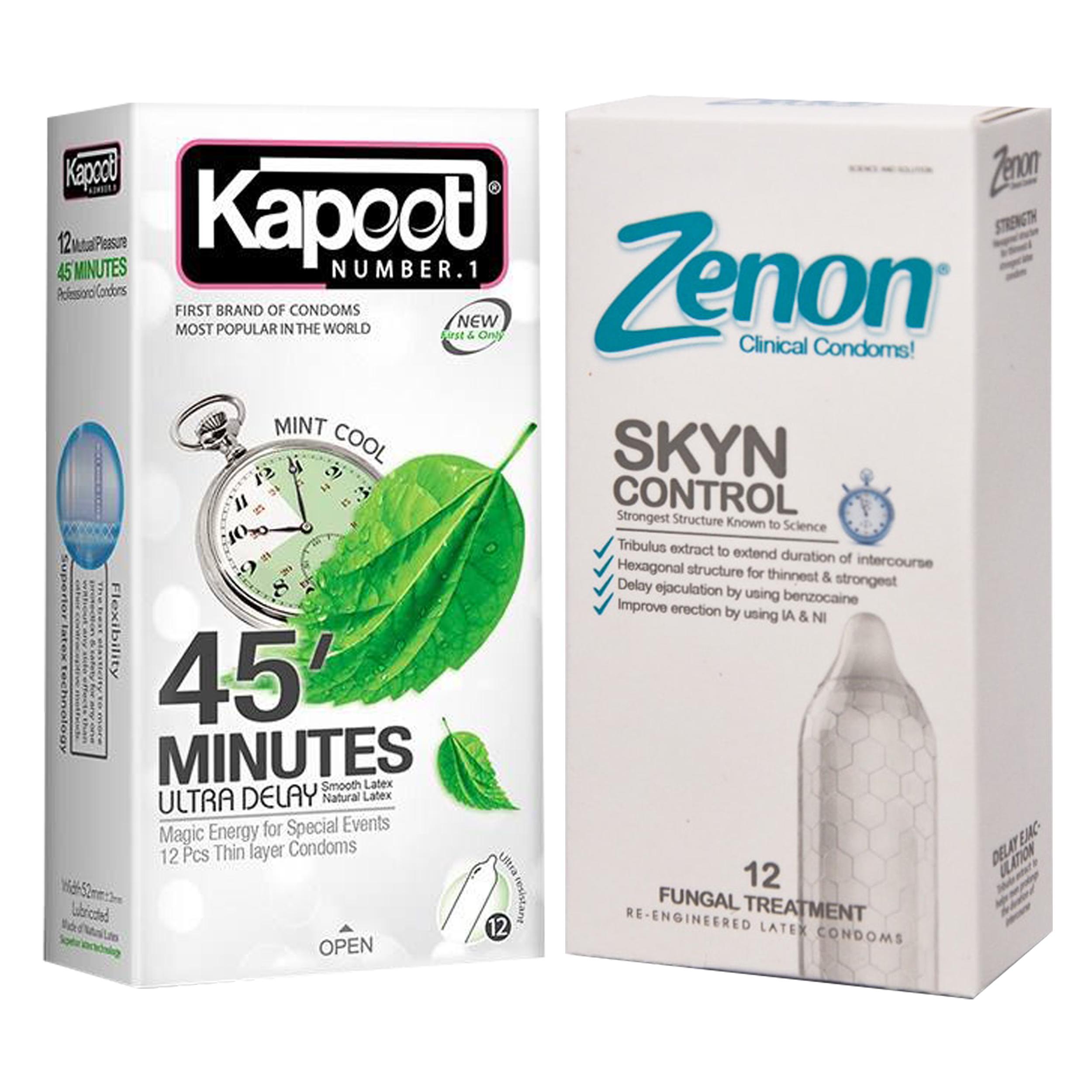 خرید                      کاندوم کاپوت مدل 45 Minutes بسته 12 عددی به همراه کاندوم زنون مدل SKIN CONTROL بسته 12 عددی