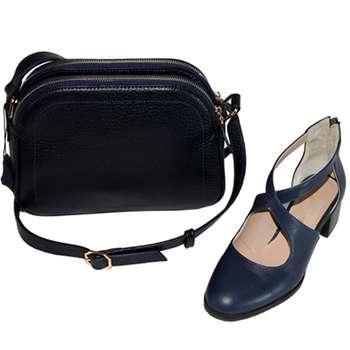 ست کیف و کفش زنانه چرم طبیعی گاوی دست دوز لمونو مدل گلایل کد KK02 |