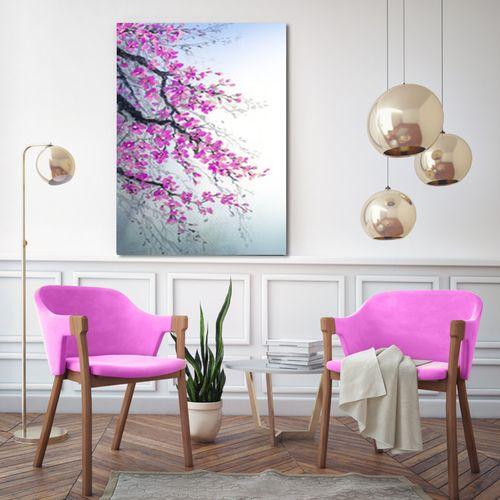تابلو شاسی طرح شکوفه های صورتی کد AX14093