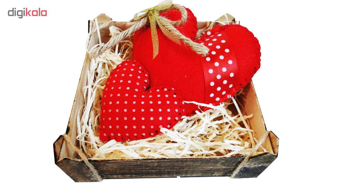 ست کادویی طرح قلب عشق مدل Love Box همراه 3 عدد قلب چوبی