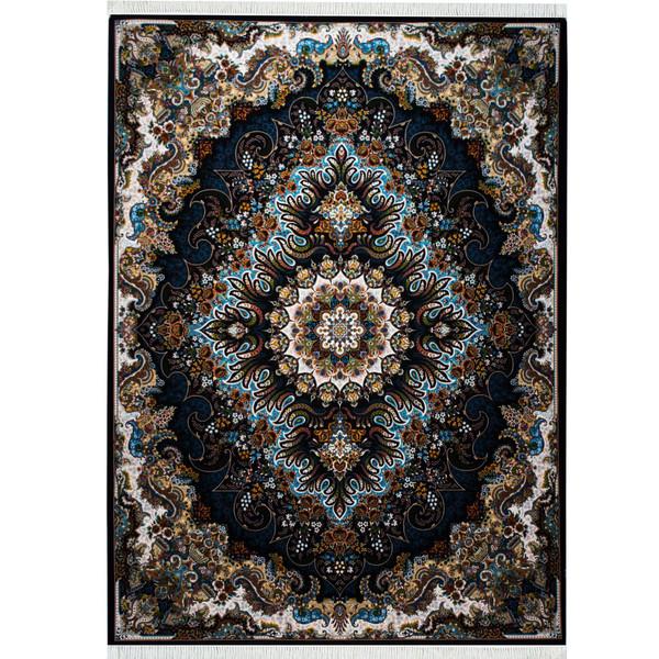 فرش ماشینی احتشامیه طرح ملورین زمینه سرمه ای
