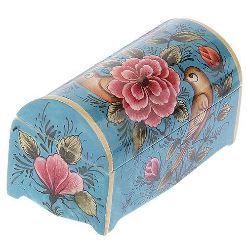 جعبه استخوانی طرح گل و مرغ زمینه فیروزه ای