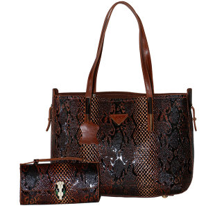 ست کیف زنانه چرم طبیعی گاوی دست دوز لمونو مدل آفاق کد 45K