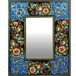 آینه خاتم کاری دست نگار طرح گل و مرغ کد 04-20