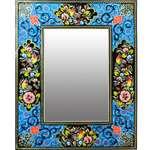 آینه خاتم کاری دست نگار طرح گل و مرغ کد 02-20