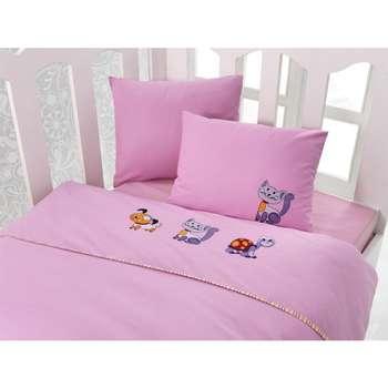 سرویس خواب 4 تکه کودک کاتن باکس  مدل  Tekir Pink | Cotton Box Tekir Pink Child Bedsheet Set 1 Person 4 Pcs