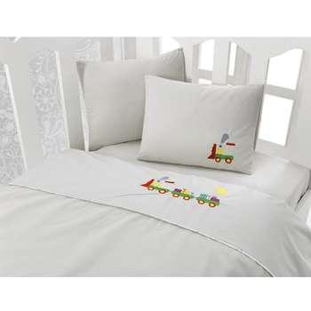 سرویس خواب 4 تکه کودک کاتن باکس  مدل  Train Beige | Cotton Box Train Beige Child Bedsheet Set 1 Person 4 Pcs