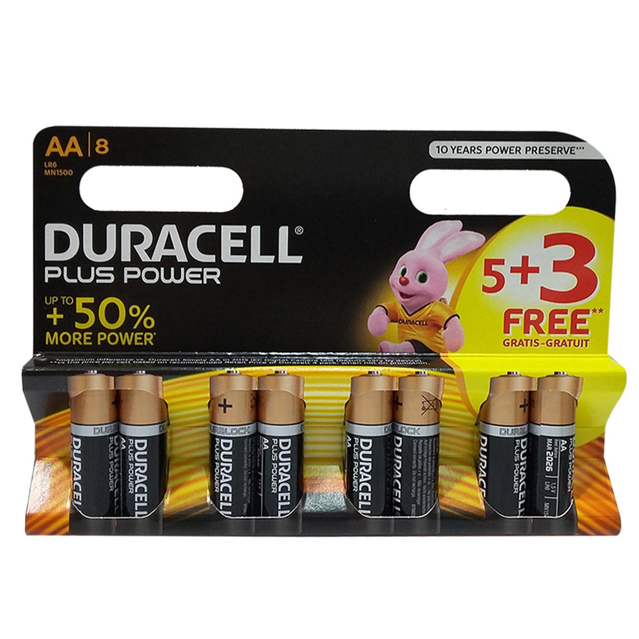 باتری قلمی دوراسل مدل Plus Power Duralock بسته 3+5 عددی