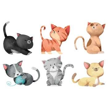 استیکر کلید و پریز طرح گربه های بازیگوش مجموعه 6 عددی