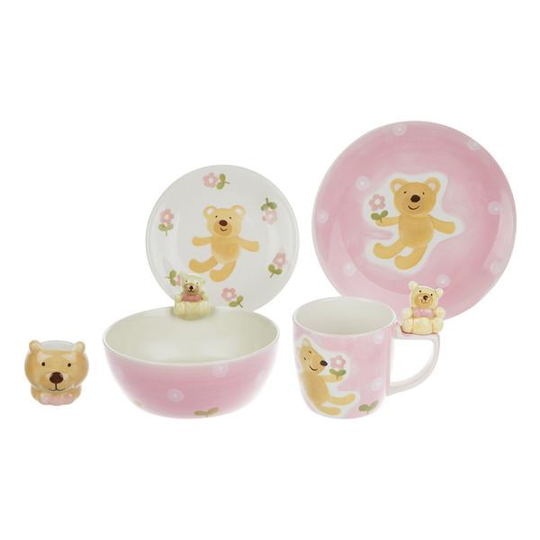 سرویس ظروف غذا خوری سرامیکی فانتزی کودک 5 پارچه طرح خرس
