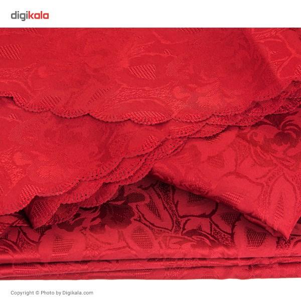 رومیزی پلی استر بیضی 220 × 150 رزین تاژ طرح گل رز