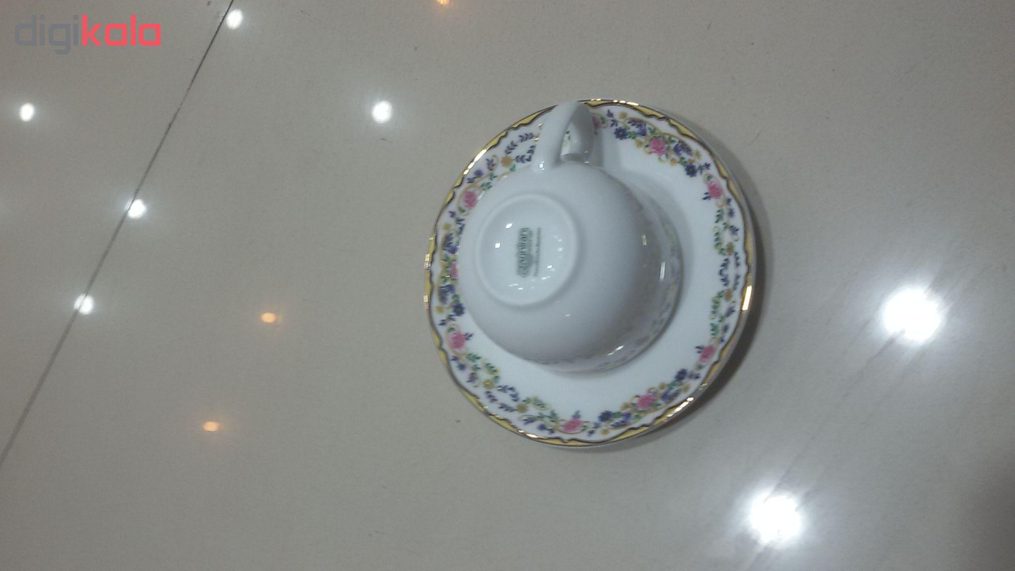 ست فنجان و نعلبکی 12 پارچه چینی زرین ایران سری ایتالیا اف مدل گلستان درجه یک