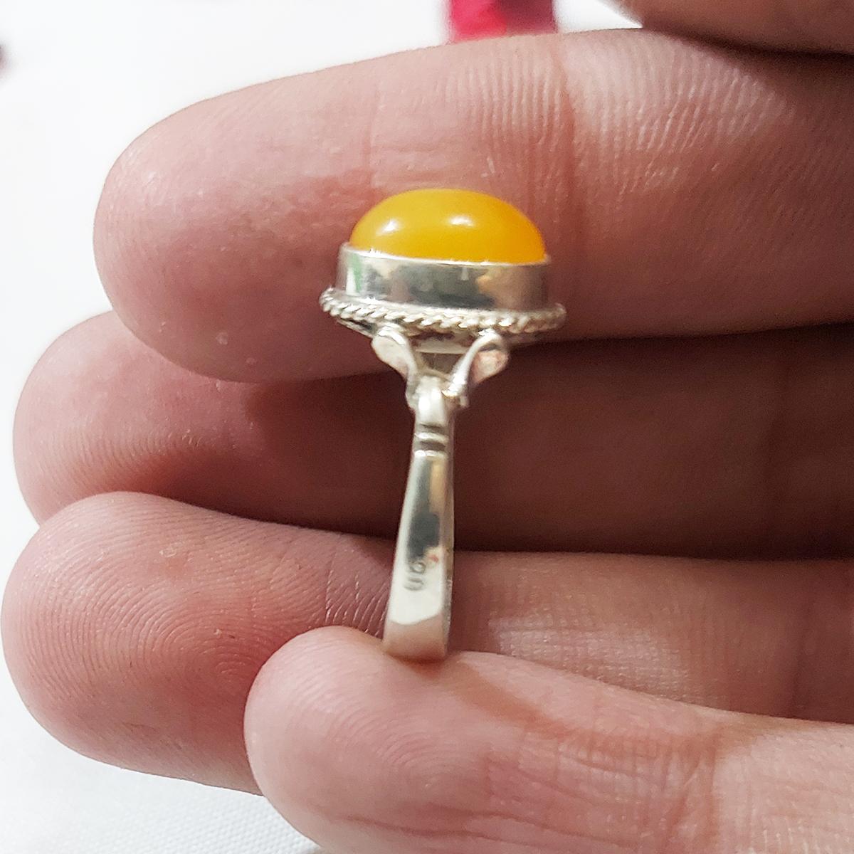 انگشتر نقره مردانه سلین کالا مدل کهربا ce-As134
