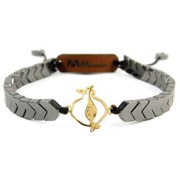 دستبند طلا 18عیار مانچو طرح انار مدل bfg098 |