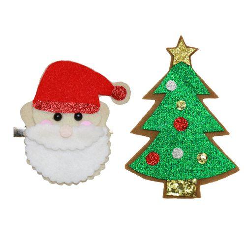 گیره سر پاپیونی طرح کریسمس مدل xmas6 مجموعه 2 عددی