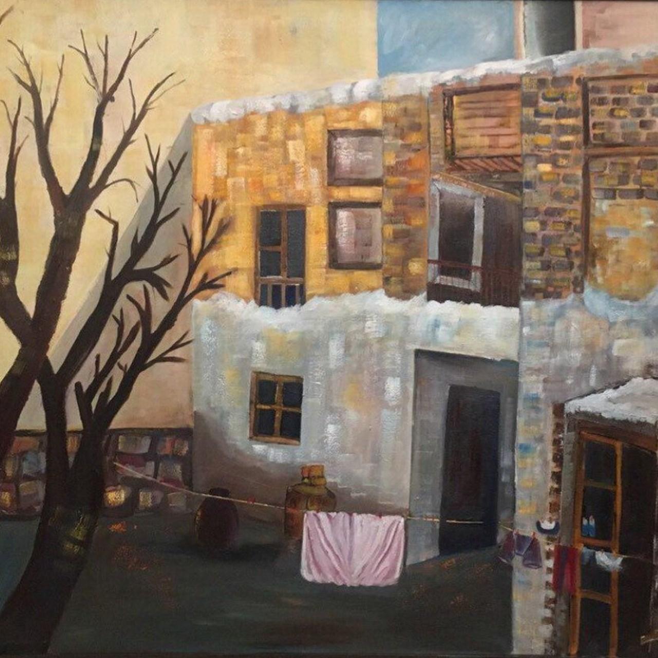 تابلو نقاشی رنگ روغن گالری مهشید طرح رئال حیاط قدیمی