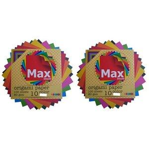 کاغذ اوریگامی مکس مدل رنگین کمان کد K1010 بسته 100 عددی مجموعه 2 عددی