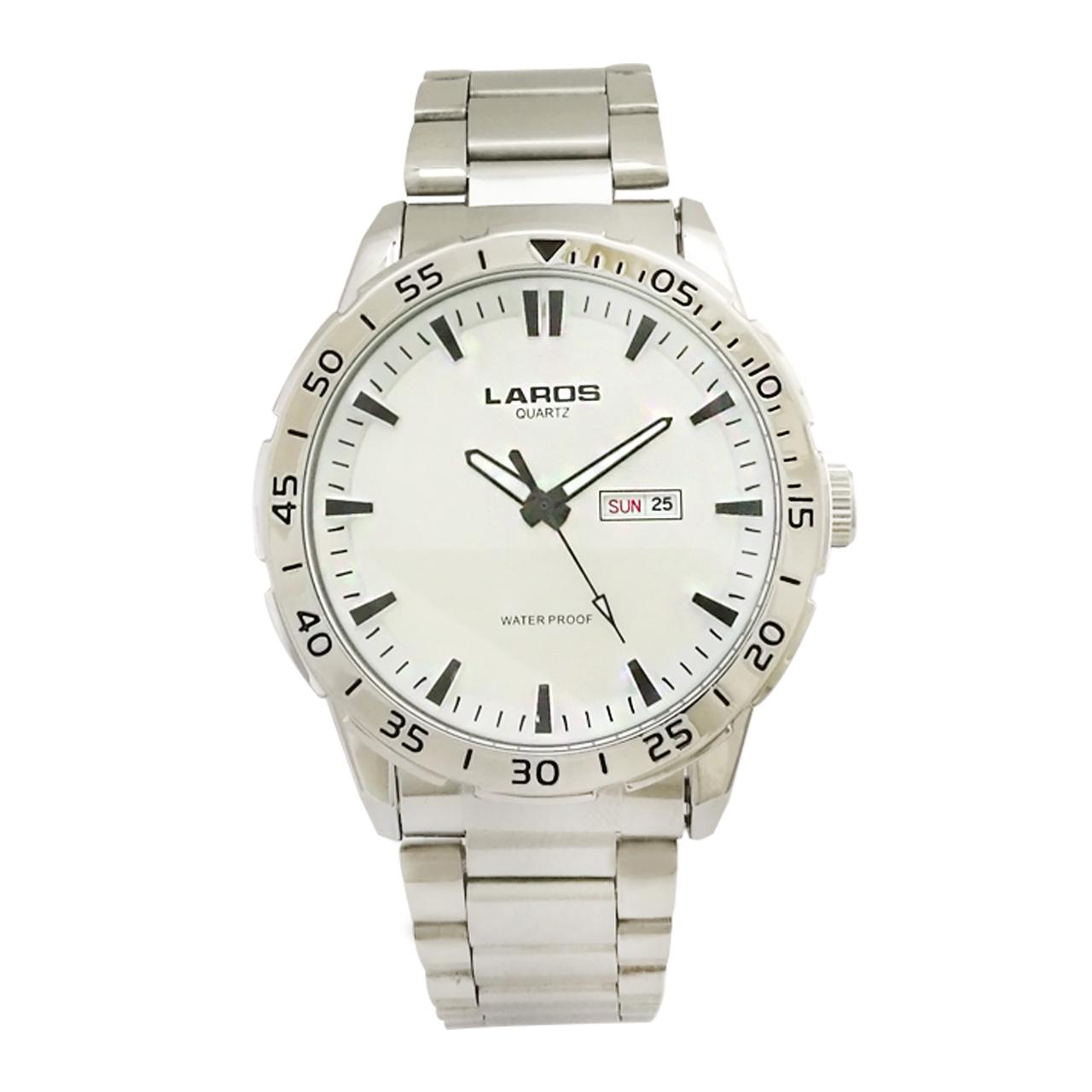 ساعت مچی عقربه ای مردانه لاروس مدل 0817-79943-DD به همراه دستمال مخصوص برند کلین واچ 46