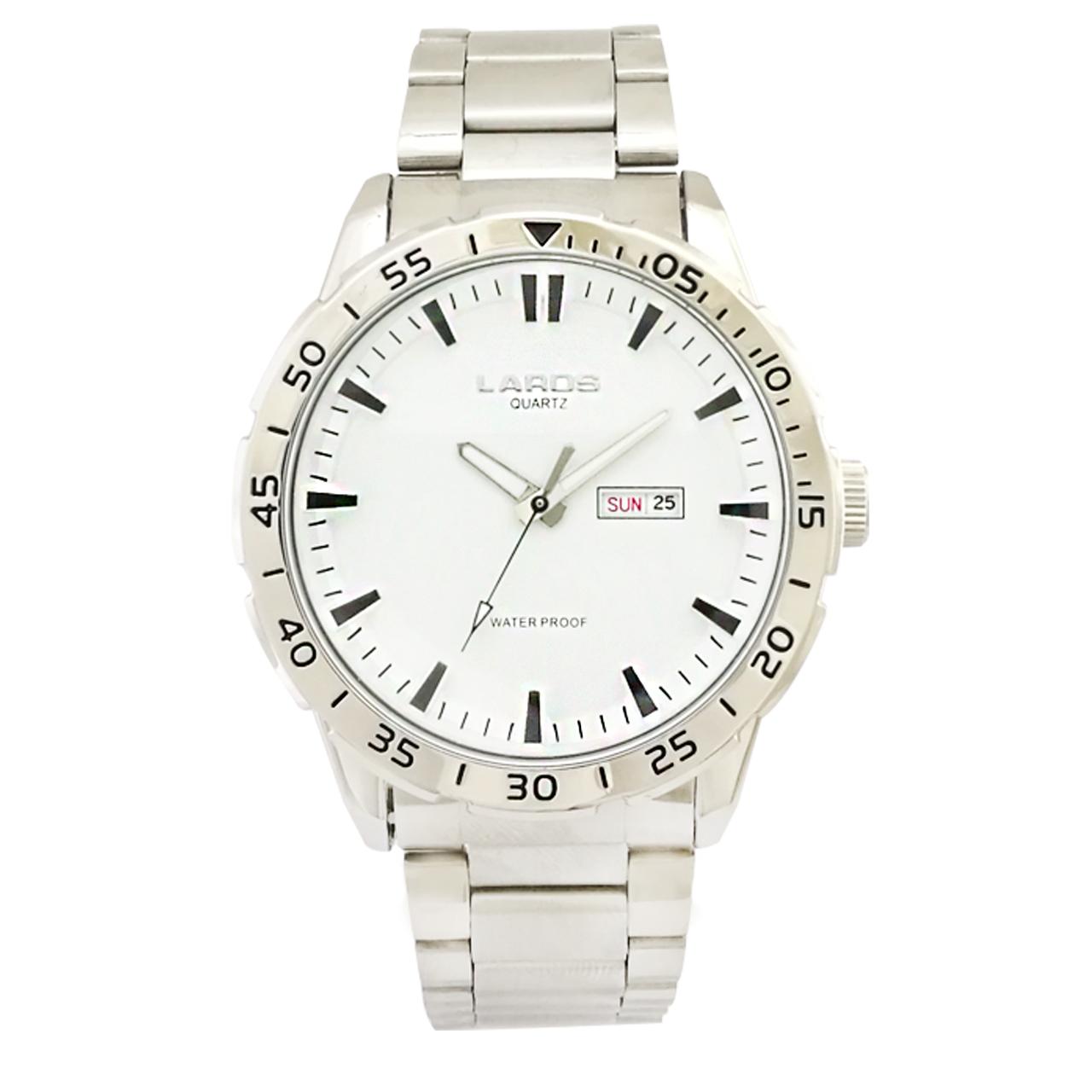 کد تخفیف                                      ساعت مچی عقربه ای مردانه لاروس مدل 0817-79943-DD به همراه دستمال مخصوص برند کلین واچ