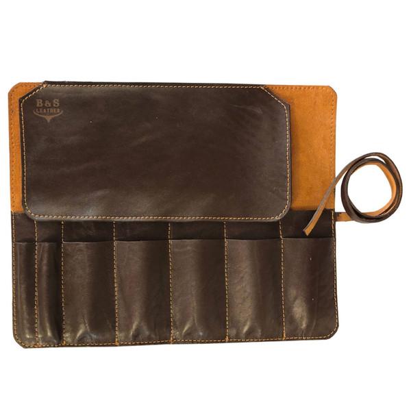 کیف قلمو و ابزار نقاشی – چرم طبیعی دست دوز مدل KG رنگ قهوه ای B&S Leather