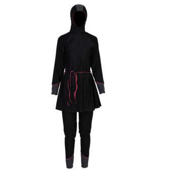 مایو زنانه پوشیده اسلامی کلاه دار و دامن دار  به همراه کلاه شنا اضافی مدل IS1  