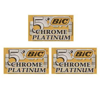 تیغ یدک سنتی  بیک مدل Platinum Chromium Double Edge مجموعه 3 عددی