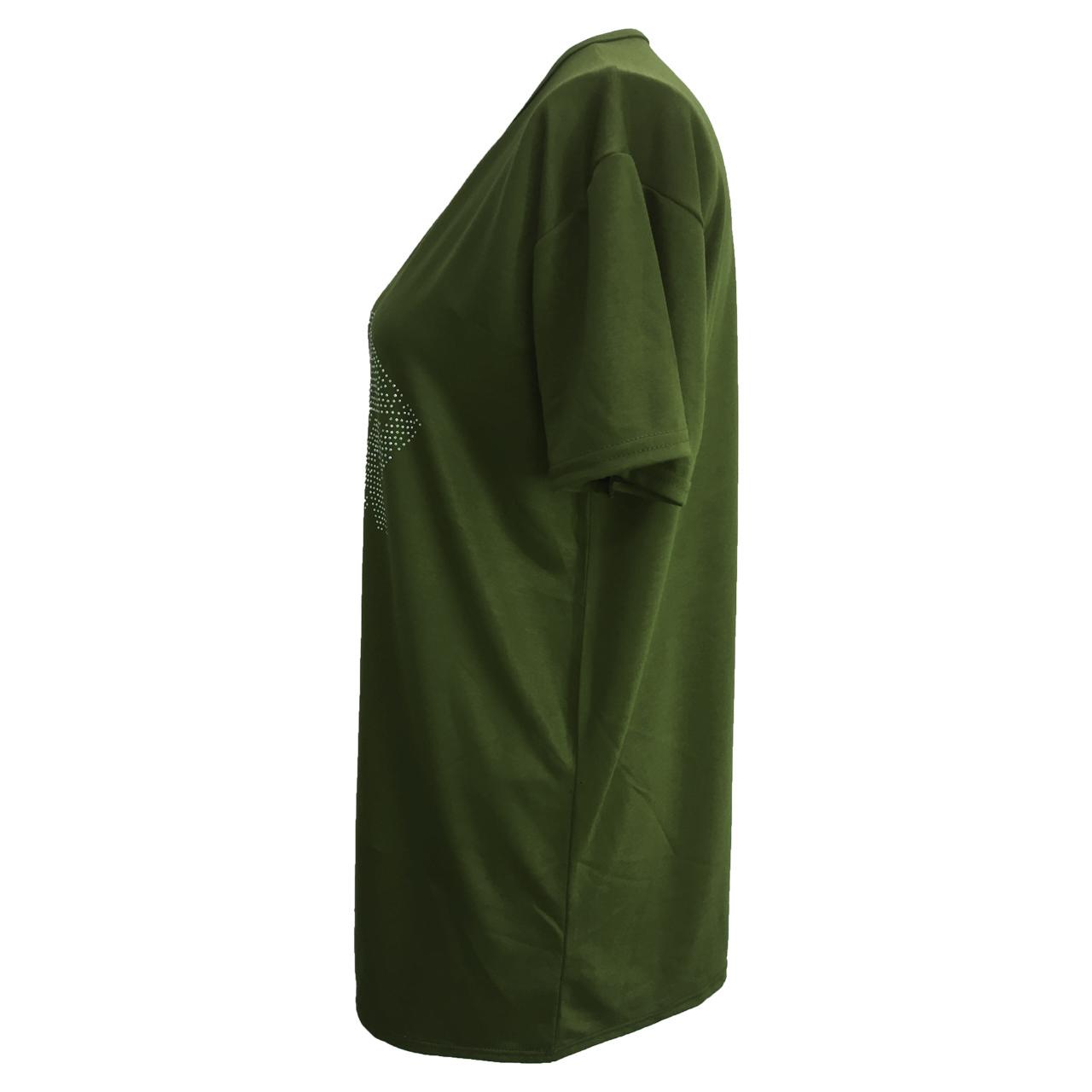 تونیک آستین کوتاه زنانه کد tm-996 رنگ سبز یشمی