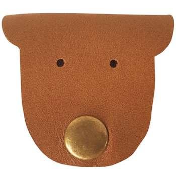 کیف هندزفری چرم طبیعی گاوی دست دوز لمونو طرح صورتک مدل GR45
