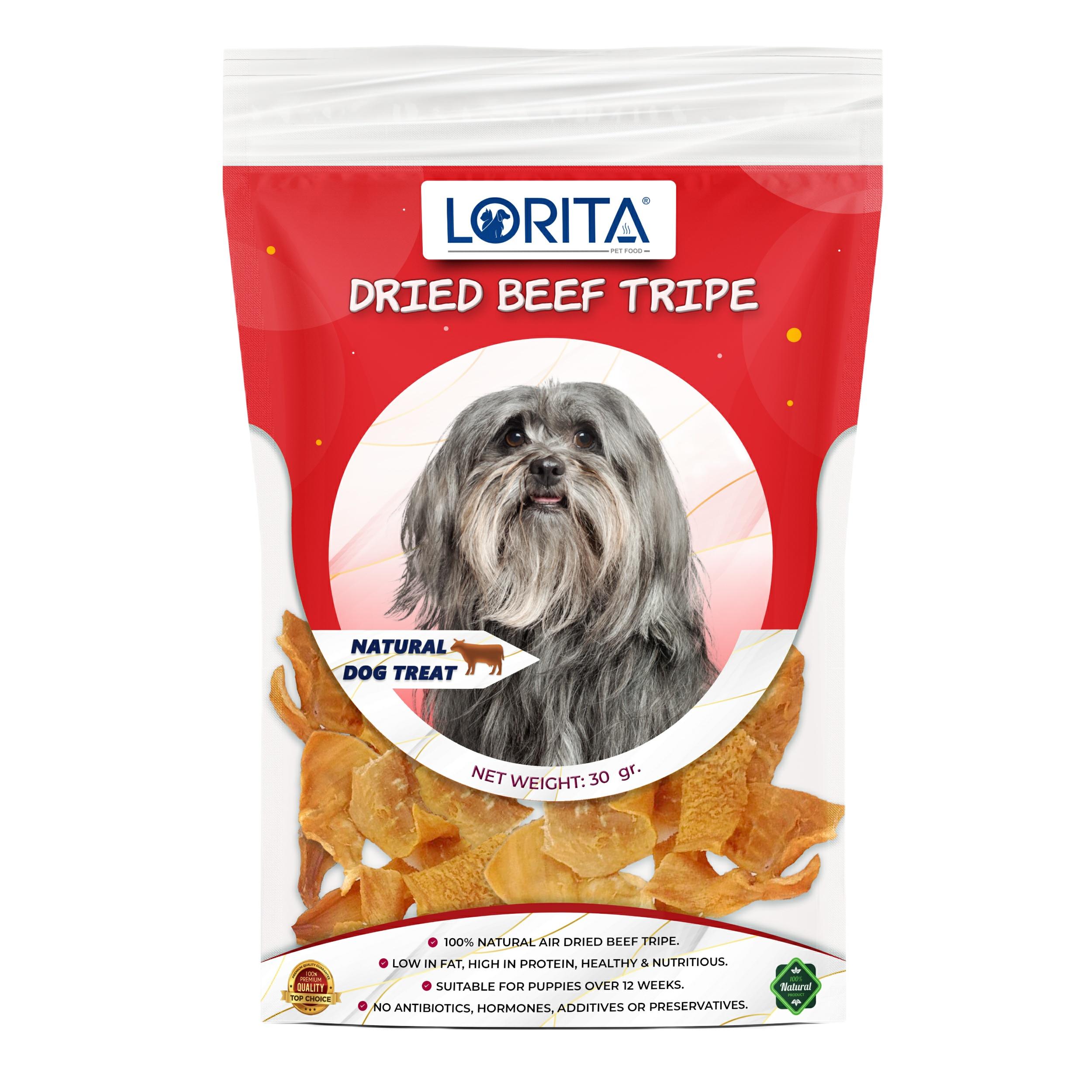 غذای تشویقی سگ لوریتا مدل DRIED BEEF TRIPE وزن 30 گرم