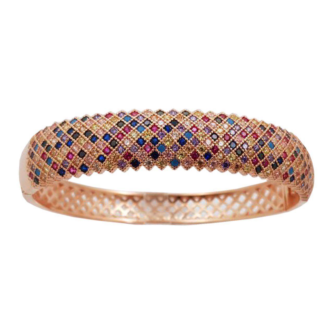 دستبند النگویی نقره ترمه مدل پرنس سنگ رنگی Termeh 22