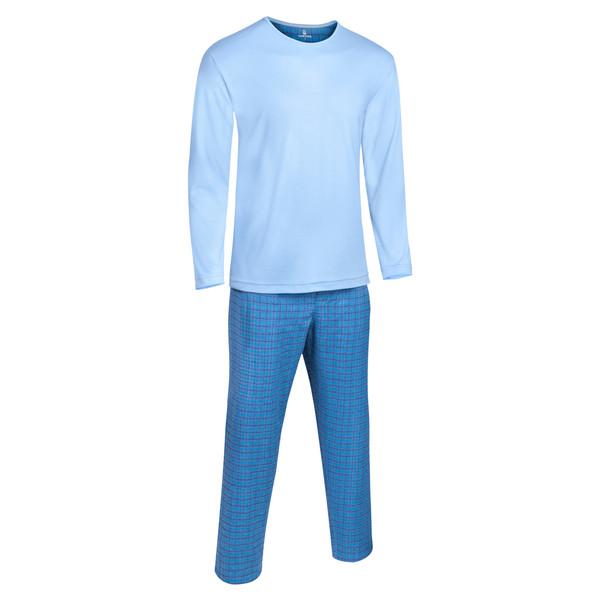 ست لباس راحتی و خواب مردانه ساروک مدل کشمیر رنگ آبی روشن
